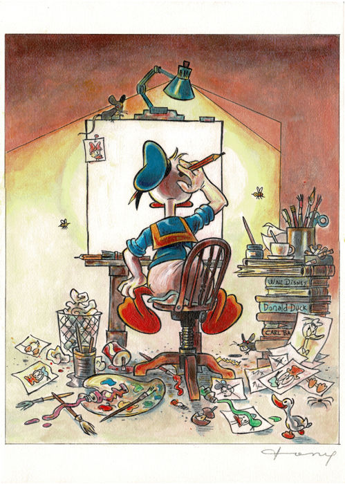 Donald Duck inspired by the Norman Rockwell - Unique Signed Giclée - Large Size - Tony Fernandez - First edition
