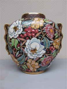 "Boch Frères - Earthenware vase with enamelled decor  ""Mikado"""