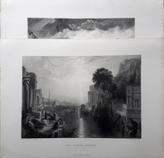 2 prints by George Cooke (1781 – 1834) & Edward Goodall (1795 – 1870)  after designs by J.M.W.Turner - Dido Building Carthage & Pendennis Castle - 19th century