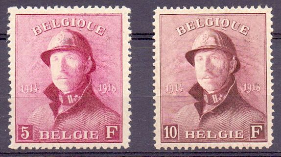 Belgium 1919 - King Albert I with helmet - OBP 177/78