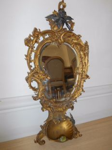 19th century baroque mirror with holy water font