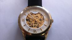 ROTARY Skeleton Yellow Gold Automatic Mens
