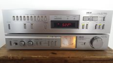 Vintage Akai AM-U11 Stereo Amplifier and Akai AT-555L Quartz Synthesizer Tuner