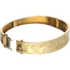 14 kt - yellow gold decorated bangle - diameter: 5.5 cm