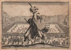 Jacques Callot ( 1592-1632 ) - Piazza Santa Croce with drumming soldier, Florence - First state before the number - 1621