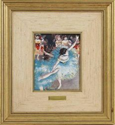 DEGAS Ballet - fire enamel plaque, the Limoges way - Certificate  of the Arte El Greco Gallery / Masters of the Impressionism Collection.