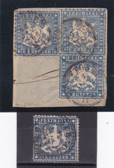 German States 1860/1863 - Wurttemberg - n.  27 ( 6 kr ) and n.  20 ( 16 kr ) ( Unificato )