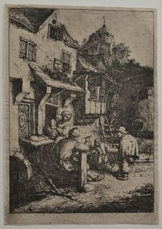 """ The Hunchbacked Fiddler "" - Original etching by Adriaen van Ostade 1654 - Date of impression unknown"