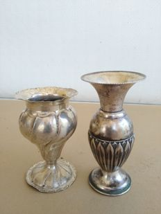 Pair of Art Nouveau small flower vases in Silver 800 from the early 1900s