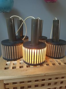 Schmahl & Schulz GmbH & Co – set of vintage metal pendant lights (5x)