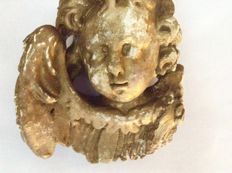 Angel's head carved from wood - Italy - approx. 1800