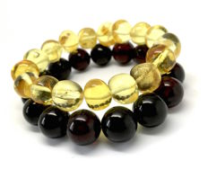 Two bracelets with natural Baltic amber beads in cherry and honey colours - wrist size – approximately 16-17 cm