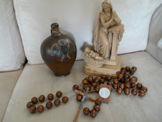 1 holy water jug, 1 Mary statue with child, 1 large wooden rosary