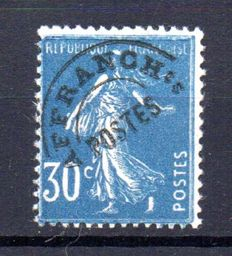 France 1922/47 - pre-cancelled stamp 30c blue signed Brun - Yvert Préo n° 60