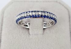 0.90 carats Sapphire and 0.40 carats Diamond Eternity Band Ring