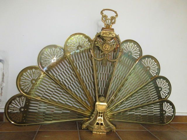 Vintage Brass Fan Fireplace Screen, second half 20th century
