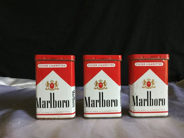 Marlboro: series of 3 enamelled cigarette boxes, 80s