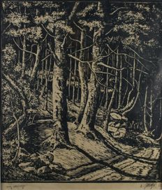 Signed LB (unknown) woodcut - around 1936