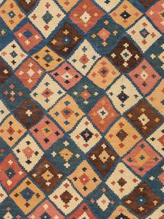 Handwoven Kilim from Qashqai-Iran, Late 19th century, In good condition, 242 x 149 cm. ( 95.3 x 58.7 inches )