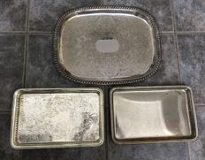 3 Silver plated trays, 2 of which are modified with flower patterns