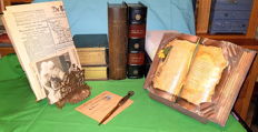 Book objects; Lot with 7 book simulants, a bronze letter-opener and letter-holder and 6 other items - 20th century
