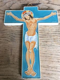 Beautiful porcelain cross marked wallaa second half twentieth century