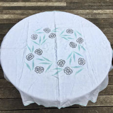 Antique tablecloth for serving tea and 12 hand embroidered napkins