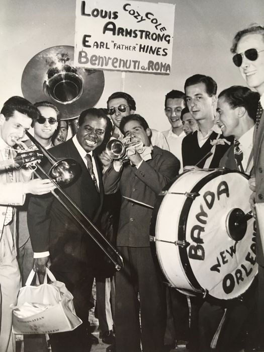 """Albert Blasetti - Louis Armstrong with his """"Dixie - Land Orchestra"""" - Rome - 1949"""