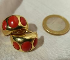 18 kt gold - Coral earrings