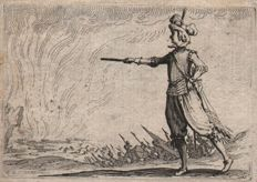 Jacques Callot ( 1592-1632 ) - Le Commandant a Pied - First state before the number - 1621