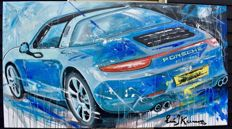 Porsche 911 Targa S - original painting by Eric Jan Kremer - signed - framed - 200 x 110 cm