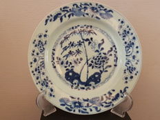 A large deep blue and white decorative plate – China –19th century