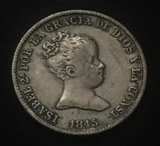 Spain - Isabel II - 1 silver real - Seville mint - RD - 1845 - Bust variant - Very rare