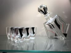 Karl Palda - Set of Art Deco liquor bottles and shot glasses