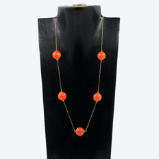 18k/750 yellow gold necklace with red coral - Length 62 cm