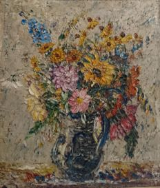 Unknown artist (20th century) - Still life with bouquet of flowers