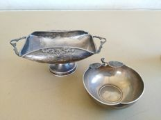 Lovely basket in 800 silver, Italy 1950 and silver bowl