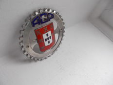 vintage  A.C.P. AUTOMOBILE CLUB PORTUGAL chrome and enamel car badge with fixings
