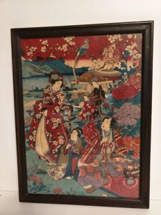 Painting on paper in the picture - Japan - second half of the 20th century.