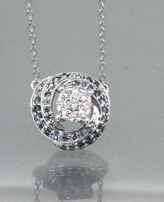 14 kt gold pendant with Fancy Intense blue diamond & white diamond 0.50 ct in total - 42 cm