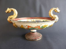 Hubert Bequet - large and beautiful fruit bowl with two snake heads, Quaregnon