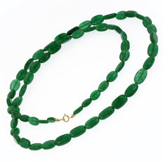 18k/750 yellow gold necklace with emeralds - Length 73 cm