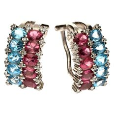 14 kt White gold earrings - set with aquamarine, pink tourmaline and brilliant cut diamond, approx. 0.25 ct. 10 x 17 mm.