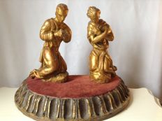 Two gold-plated wooden angel figurines - Italy - approx. 1850