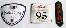 Unique Enamel beer advertising signs; Neubourg, Duvel and Palm from the 1990s