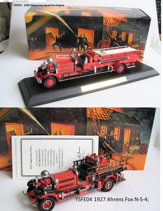 Matchbox Collectibles Platinum editions - Scale ca1/55 - Ahrens Fox Quad Fire Engine 1930  and Ahrens Fox N-S-4 1927