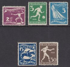 "The Netherlands 1928 - Five plate errors Olympiade (""Olympiad"")"