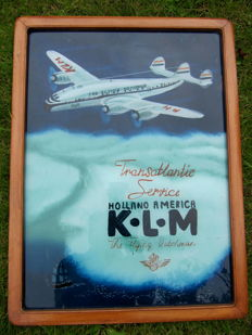 KLM The Flying Dutchman Transatlantic Service Holland America - painting behind glass