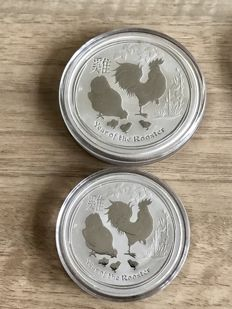 Australia - 1 Dollar 2017, 2 Dollars 2017, Year of the Rooster - 3 oz of silver