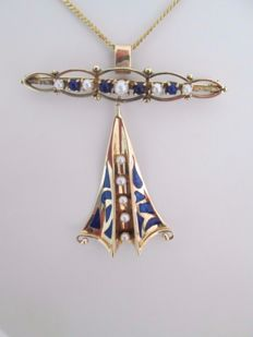 14 kt Gold, old brooch with enamel and seed pearls, Art Deco, 1930s